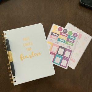 🛍Fearless Gold & White Notebook & Sticker Set